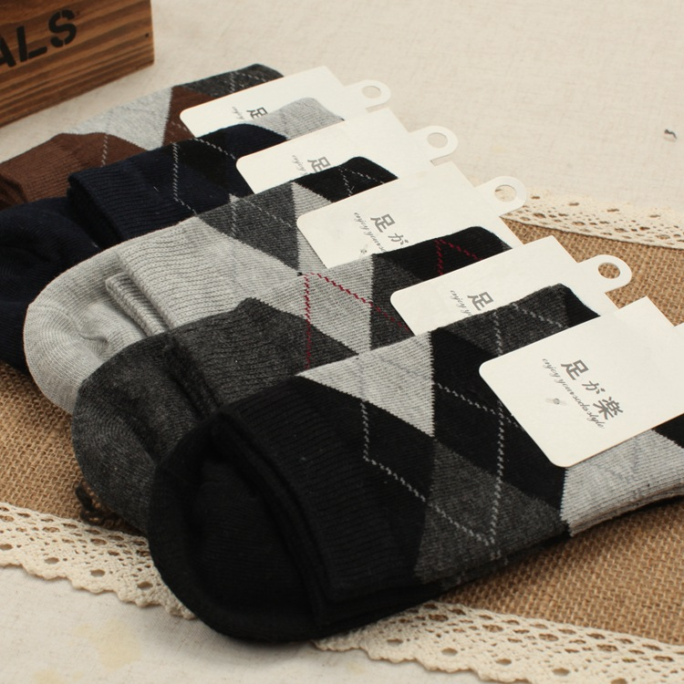 Mens Shape of A Diamond Pattern Cotton Short Socks 5 Colors ZDL044