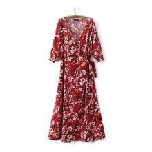Summer 2016 Ethnic Floral Long Dress Women Half Sleeve Maxi Dress Vestido With Belt Fashion Slim V-Neck Maxi Dress JF8633