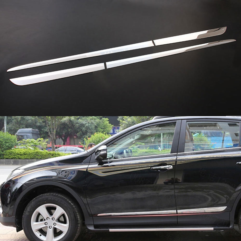 Stainless Steel Door Side Body Garnish Molding Cover Trim For Toyota RAV4 2014-2017 Exterior Decor Strip Car Styling Accessories car stainless steel abs chrome side door body trim stick strip molding stream lamp panel bumper for toyota rav4 2016 2017 2018