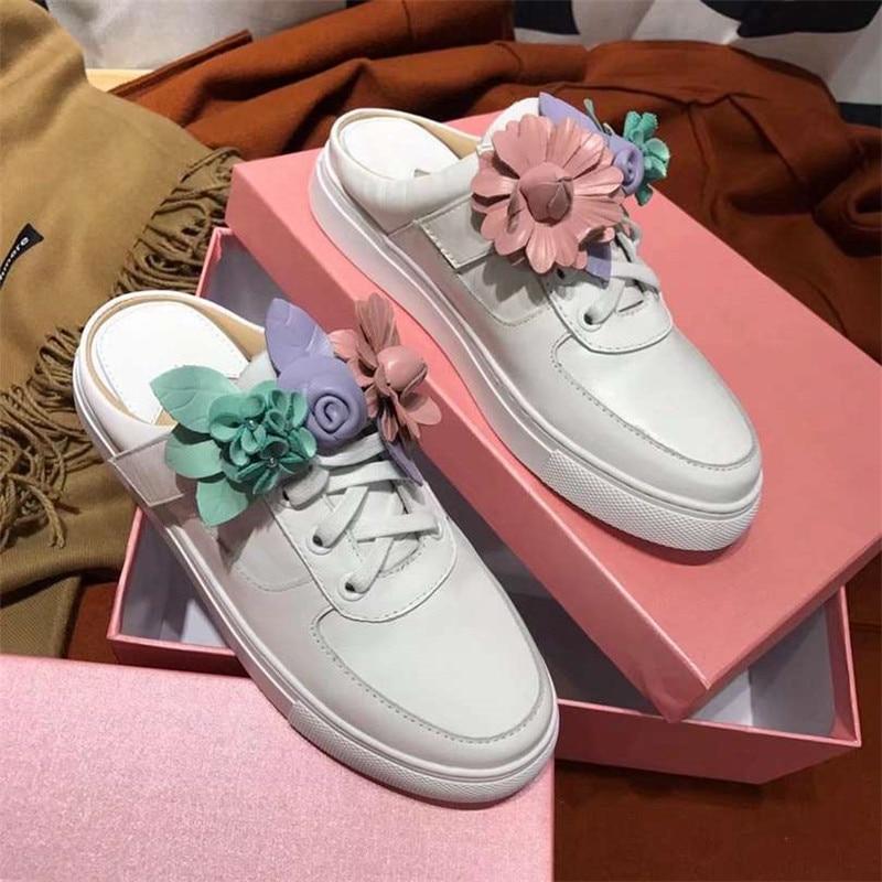 Slingback Fleur Femme Zapatos Mujer Chaussures Flats Casual Bout Concise Blanc slingbacks Coloré Lacent Sculpté Rond 5vxwAvq8P