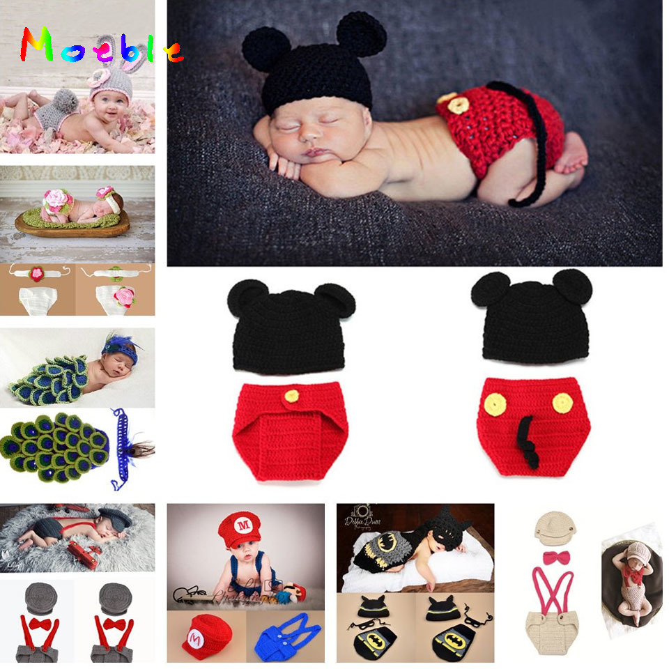 9 Designs Baby Crochet Photo Props Infant Baby Crochet Animal Hats Beanie Knitted Toddler Baby Costume 1pc/lot MZS-14037