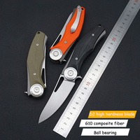 2019 New Explosion models high hardness outdoor self defense folding knife D2 steel wash beautiful G10 handle gift folding knife