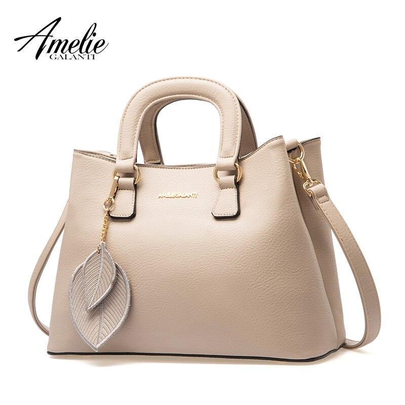 AMELIE GALANTI Handbags woman Totes leaves pendant Fashion Hard Solid Classic style Interior Slot Pocket