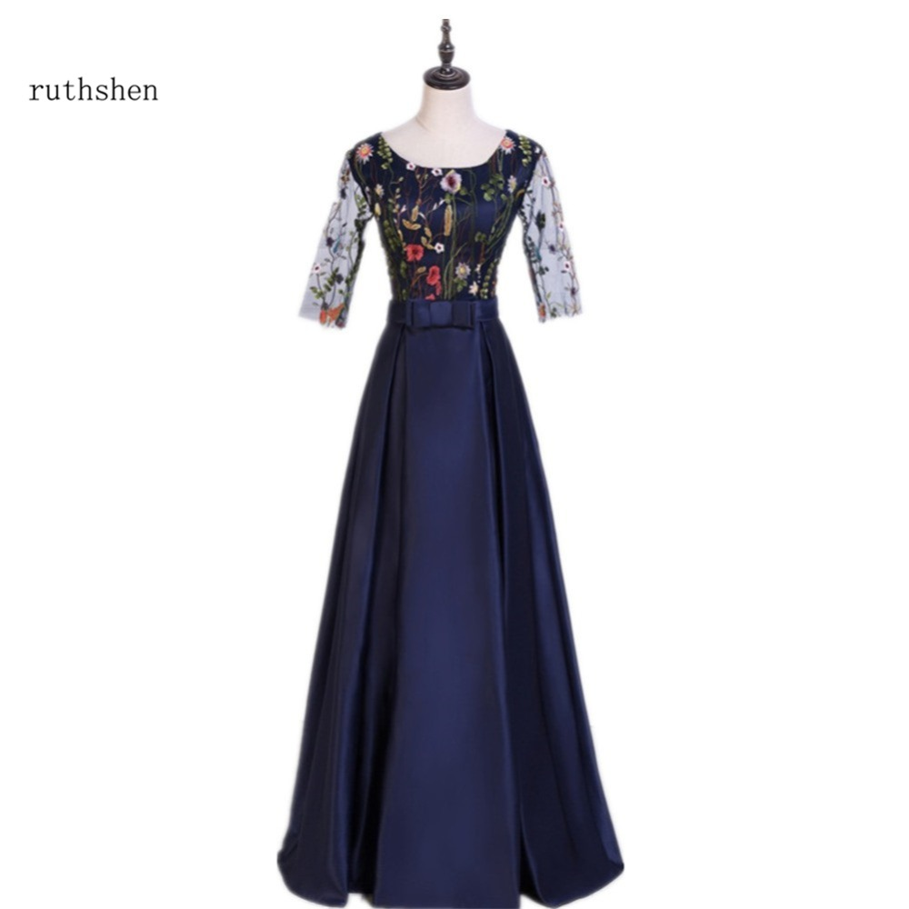 ruthshen 2018 Elegant Long Evening Dress Beautiful Embroidery Flowers Navy Blue Formal Prom Gowns Special Occasion Dresses