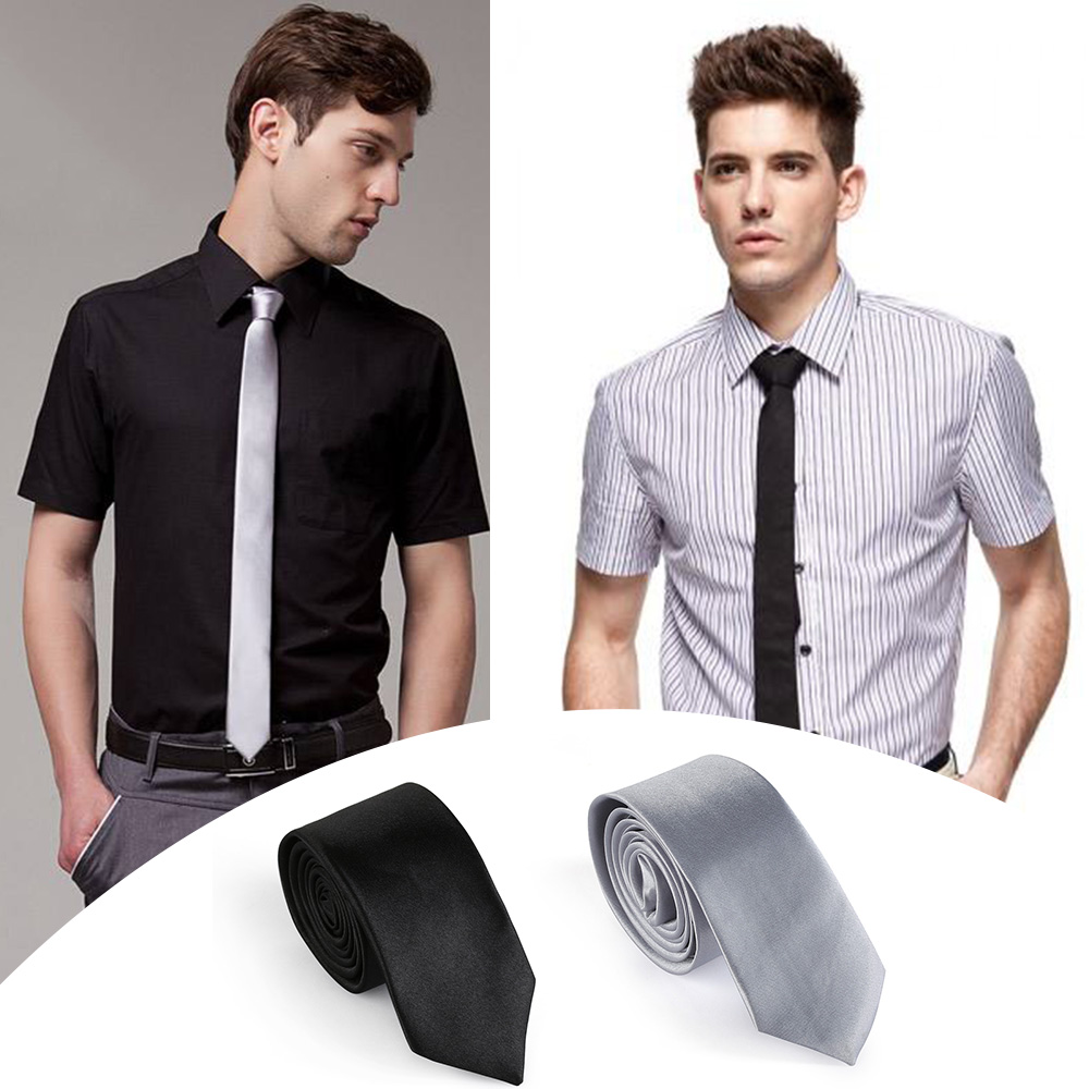 2019 New Arrival Men Solid Slim Plain Skinny Fashion Casual Neck Tie Party Business Wedding Silk Tie Clothes Accessory