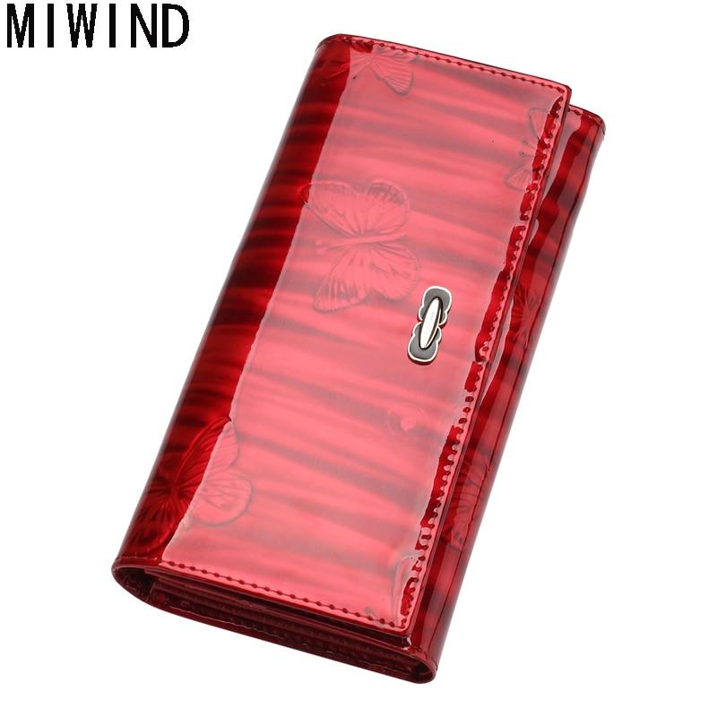 MIWIND Portefeuille Femelle Mode Solide Femmes Portefeuilles Véritable En Cuir Long Hasp Dames À Long Embrayage Portefeuilles TSD1227