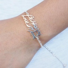 Wholesale Custom Signature Names Pendant Bracelets Anklets Engraved Nameplate Bracelets Female Christmas Gift