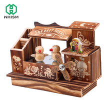 WHISM Antique Carved Hand Crank Wooden Music Box Bird Dancing Windmill Ornaments Friend Birthday Gift Vintage Home Decoration