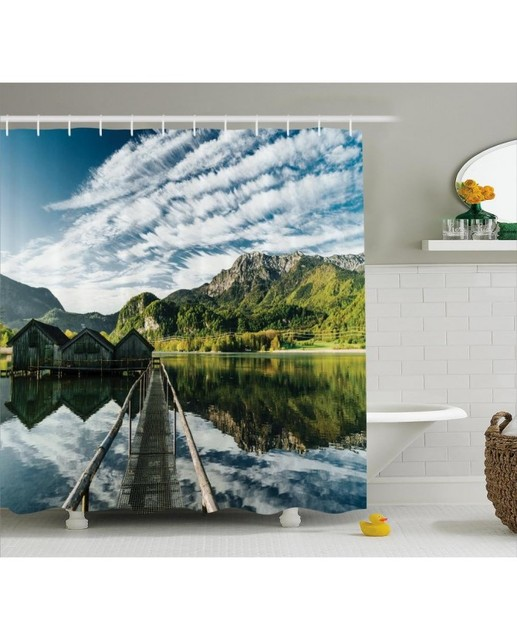 Nature Shower Curtain Mountain River Cottage Print For BathroomWaterproof And Fabric Washable Set With Hooks