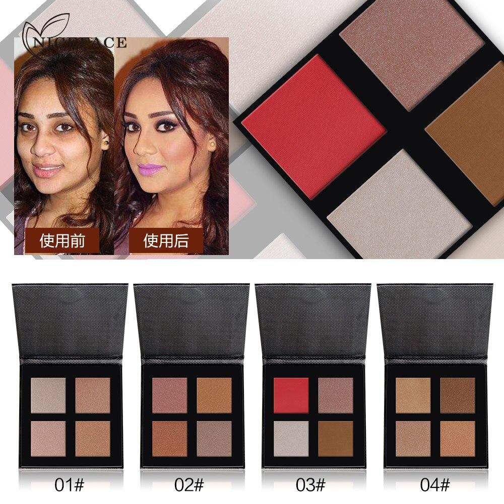 NICEFACE 4Colors Shine Shimmer Bronzer Powder Palette Makeup Face Brighten Oil-control Base Glitter Highlighter Contour Palette