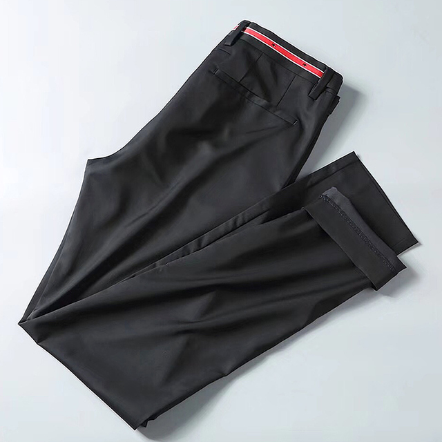 무료 배송 고품질 여름 남성 패션 비즈니스 캐주얼 바지 남성 긴 슬림 바지, 기본 스타일 별 자수 바지