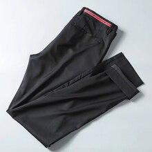 Miễn phí vận chuyển chất lượng cao Mùa Hè nam thời trang công sở Quần suông cổ nam dài Slim quần, phong cách cơ bản sao thêu quần