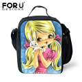 FORUDESIGNS 2017 Bolsa Termica Cartoon Girls Doll Prints Lunch Bags For Kids Children Women Lunchbox Bags Insulated Picnic Bags