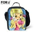 Forudesigns 2017 bolsa termica meninas boneca dos desenhos animados prints mulheres sacos lancheira isolados almoço sacos para crianças crianças sacos de piquenique