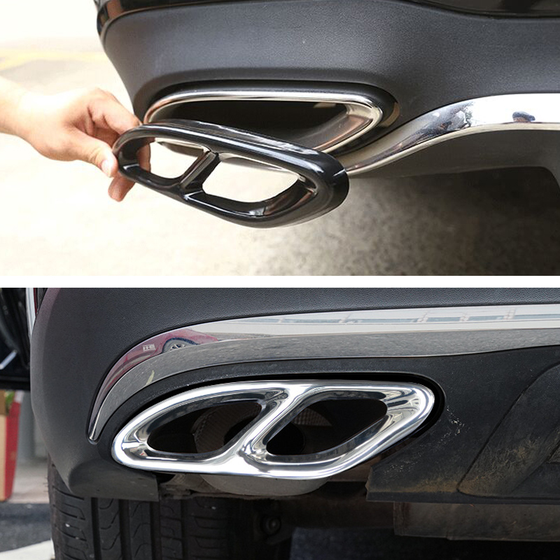 2pcs Auto Parte Per Mercedes Benz GLC C E-Classe C207 Coupe 2014-2017 W212 W213 W205 x253 C180 C200 Gloss Nero di Scarico In Acciaio Trim