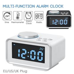 Multi-function LCD Digital Clock USB Charging FM Desktop Alarm Clock Electronic Temperature Display Home Decor Accessories S4