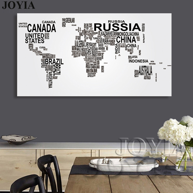 Large world map canvas art english words country names word art large world map canvas art english words country names word art black and white print wall painting home office room wall decor in painting calligraphy gumiabroncs Image collections