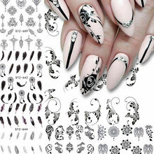 6 Sheets Water Nail Decal and Sticker Flower Leaf Feather Simple Summer Slider for Manicure Nail Art Watermark Tips nail sticker nail sticker korea 3d nail sticker watermark applique phototherapy nail polish glue flower sticker white big sticker