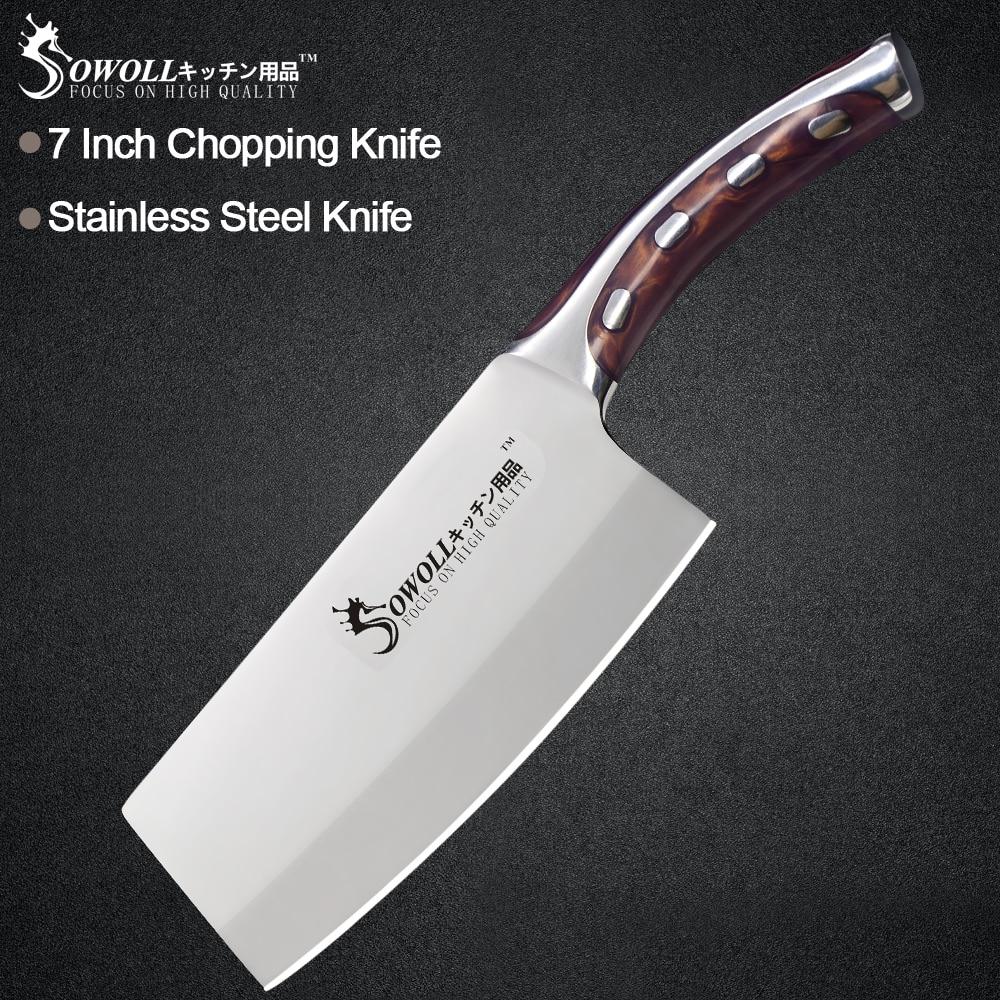 Sowoll Edelstahl Messer Nahtlose Schweiß Harz Fibre Griff High Carbon Klinge Dienstprogramm Chef Hacken Messer Kochen Werkzeuge