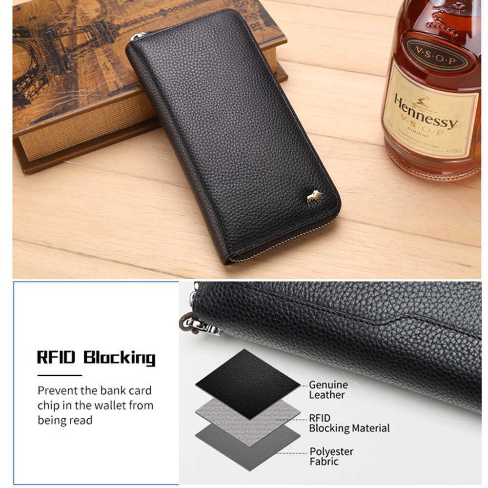 BISON DENIM marca de cuero genuino cartera RFID bloqueo bolso de embrague cartera tarjetero monedero cremallera masculino carteras largas N8195