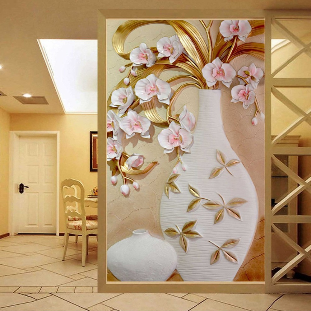 Custom 3d mural wallpaper embossed flower vase for 3d room decor