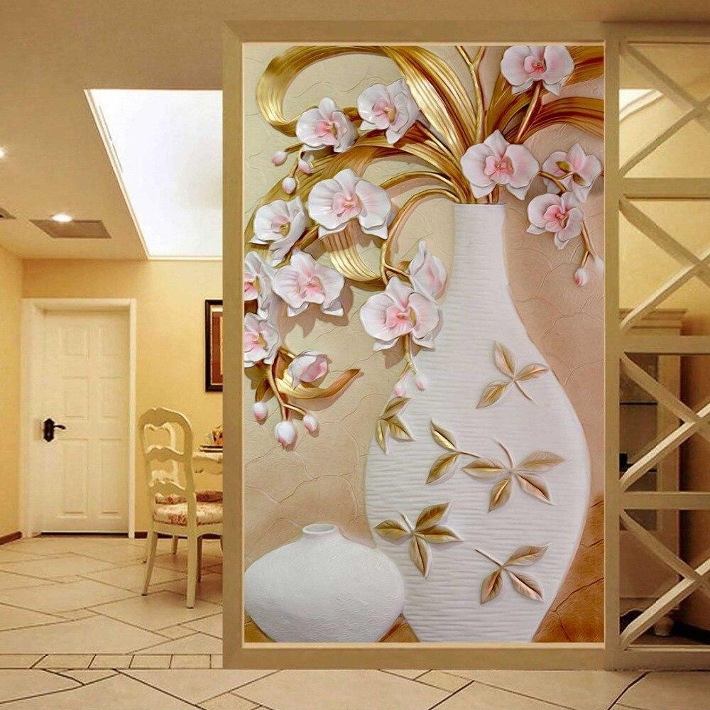 Custom 3D Mural Wallpaper Embossed Flower Vase Stereoscopic Entrance Wall Designs Home Decor Living Room Modern