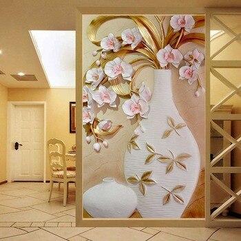 De 3d Mural Papel En Relieve Flor Florero Estereoscopica Entrada