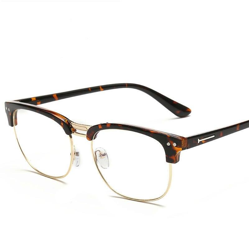 Unisexe Vintage Ordinateur Optique Lunettes Hommes Femmes Protection Mâle Occasionnel Moitié Cadre en verre Clair Lunettes flèche lunettes oculos