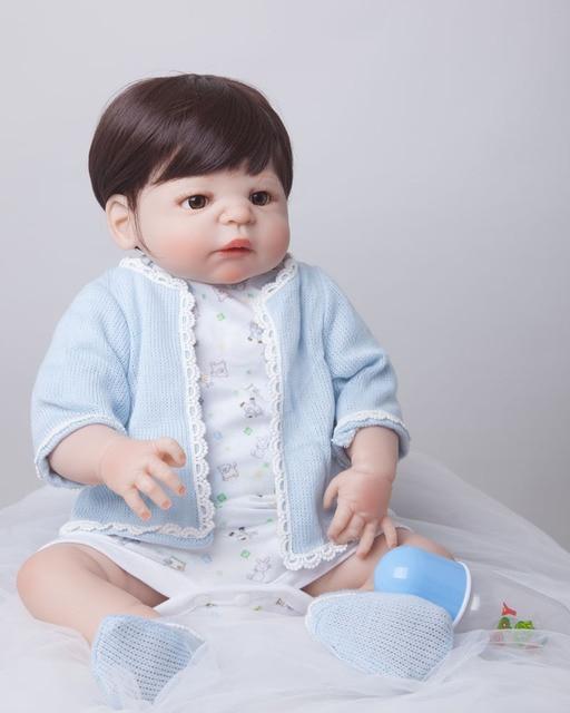55 см Всего Тела Силикона Возрождается Кукла Игрушки Реалистичные Играть Дома Игрушки Новорожденный Мальчик Детские Рождественский Подарок Купаться Душ игрушка
