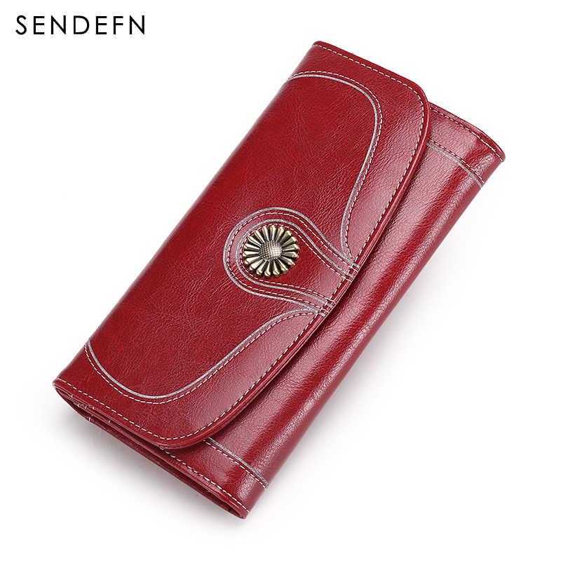 SENDEFN, новинка, дизайнерский кошелек, Ретро стиль, масло, воск, кожаный кошелек, для женщин, длинный, качественный, женские кошельки и кошельки, на молнии, с карманом, 5180L-64