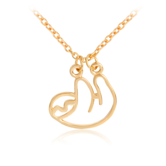 Sloth necklace metal rose gold silver hollow animal pendant sloth necklace metal rose gold silver hollow animal pendant necklace for women men fashion jewelry wholesale mozeypictures Images