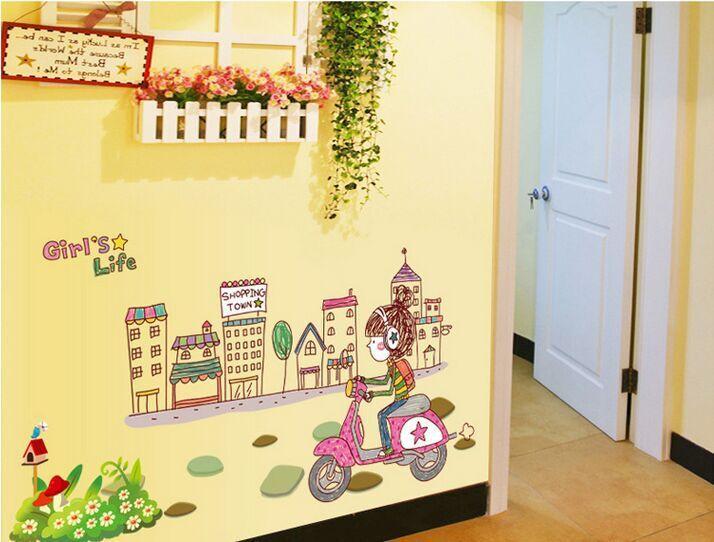 girl in the city wall sticker home decor children kids room ...