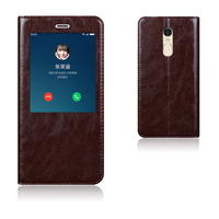 Natural Top Genuine Leather Window Flip Stand Cover Case For Xiaomi Redmi Note 4 Note4 Luxury