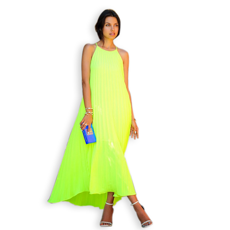Women Solid Flowy Swing Pleated Long Sundress 2015 European Ladies