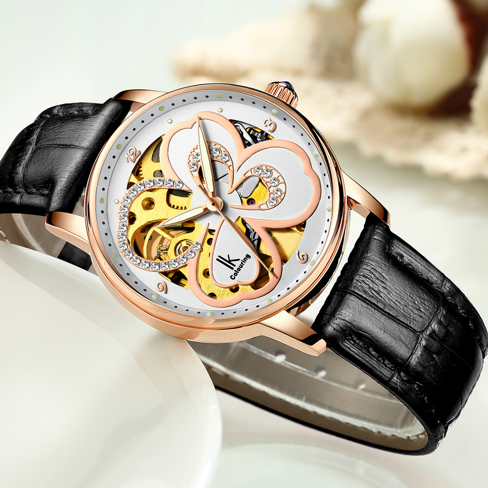 IK Colouring Women Automatic Watch Luxury Crystal Marked Skeleton Dial Mechanical Ladies Wristwatch with Leather or Steel Band