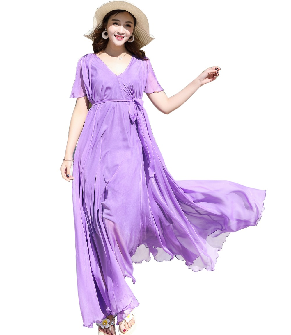 2018 Women's Chiffon Lightweight Bridesmaid Maxi Dress