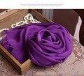 Шарфы Женщин 2016 Дети Зима Шоу 100% Чистого Шелка Темно-Фиолетовый квадратных Шелковых Шарфов Мягкий обернуть голову шарф Мальчиков равнина вискоза хиджаб