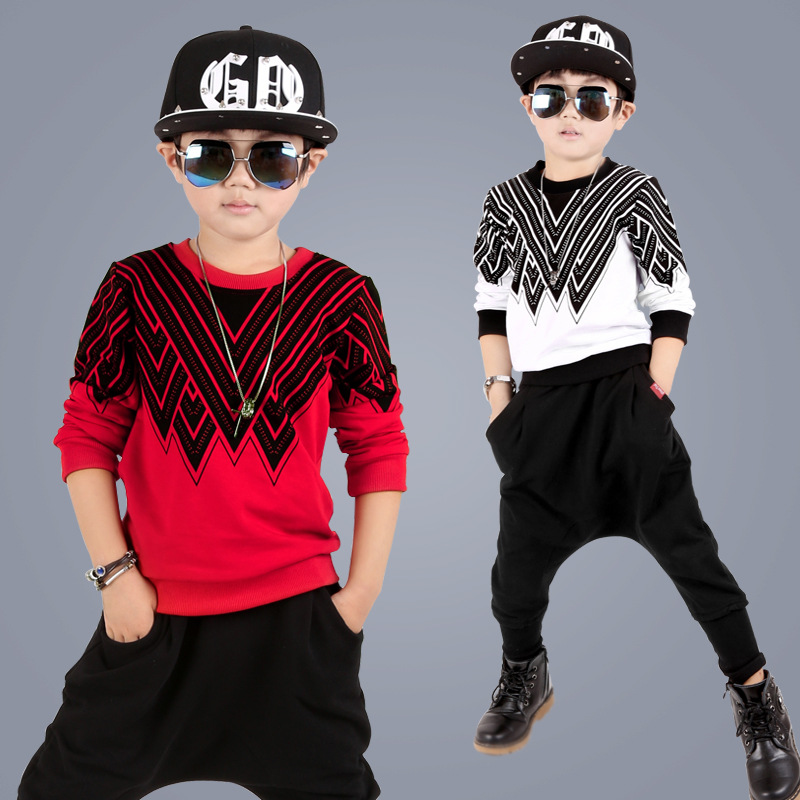 Kids Hip Hop Clothing Sets Suit Autumn Children Tracksuit Boys Long Shirt Pants Sweatshirt Casual Clothes 2 Color Size