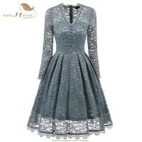 SISHION Sexy Dress Long Sleeve Vintage Retro Floral Black Turquoise Blue Violet Elegant Club Party Lace