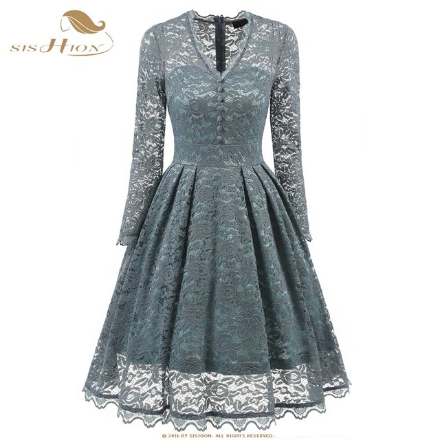 e90a1efa31130 US $28.73 |SISHION Sexy Dress Long Sleeve Vintage Retro Floral Black  Turquoise Blue Violet Elegant Club Party Lace Dress VD0636-in Dresses from  ...