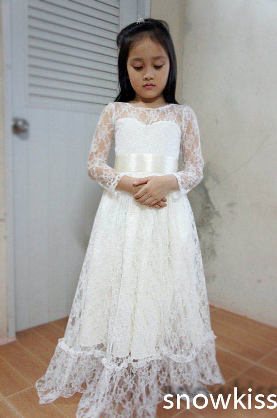 New white/ivory first communion flower girl dresses sheer lace neck long sleeves A-line gowns for wedding formal occasion maison jules new women s small s white ivory sheer pintuck buttonup blouse $69 page 2