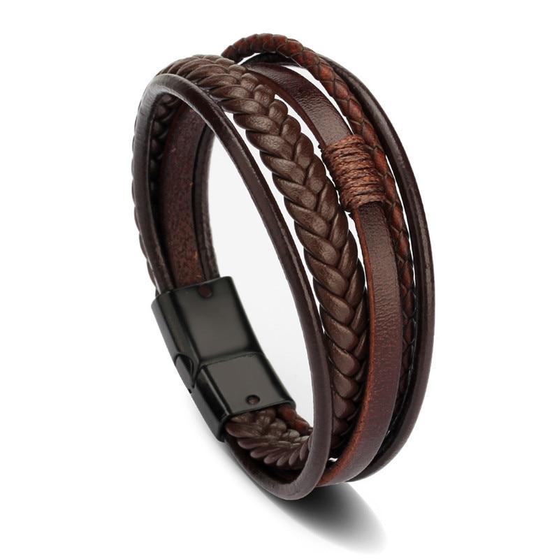 Мужской браслет, многослойный кожаный браслет с магнитной застежкой, Воловья кожа, плетеный многослойный браслет, модный браслет на руку, pulsera hombre - Окраска металла: Brown Black