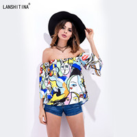2017 Apparel Sexy Off Shoulder Abstract 3D Print Blouse Shirt Cotton Flare Sleeve Summer Tops Casual