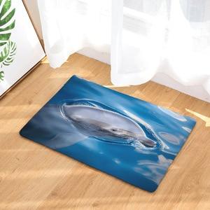 Image 3 - CAMMITEVER Foot Door Yoga Chair Play Mat Bathroom Hallway Carpet Area Rug Rectangular Home Decoration Dolphin In Blue Sea