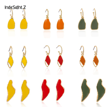 IngeSight.Z Cute Irregular Candy Colour Hanging Drop Earrings Statement Personality Drip Oil Dangle for Women Jewelry