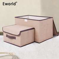 Eworld 2pcs Household Portable Box Waterproof Clothes Organizer Storage Box Underwear Bra Packing Makeup Cosmetic Coth