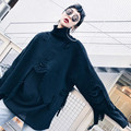 OFTBUY 2017 новая коллекция весна осень готический завышение мода асимметричный кисточкой черные пуловеры водолазка шерсть вязаный свитер женщин