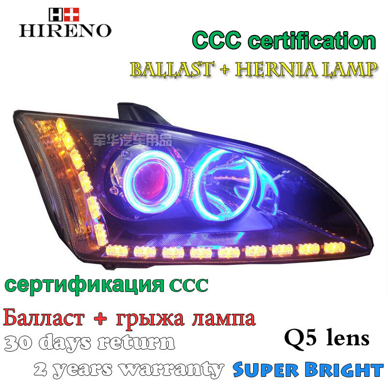 Hireno Modified Headlamp for Ford Focus 2005-2008 Headlight Assembly Car styling Angel Lens Beam HID Xenon 2 pcs hot sell optics in surat india focus lens f77 beam bendor 50x10 beam expander 10x front mirror back