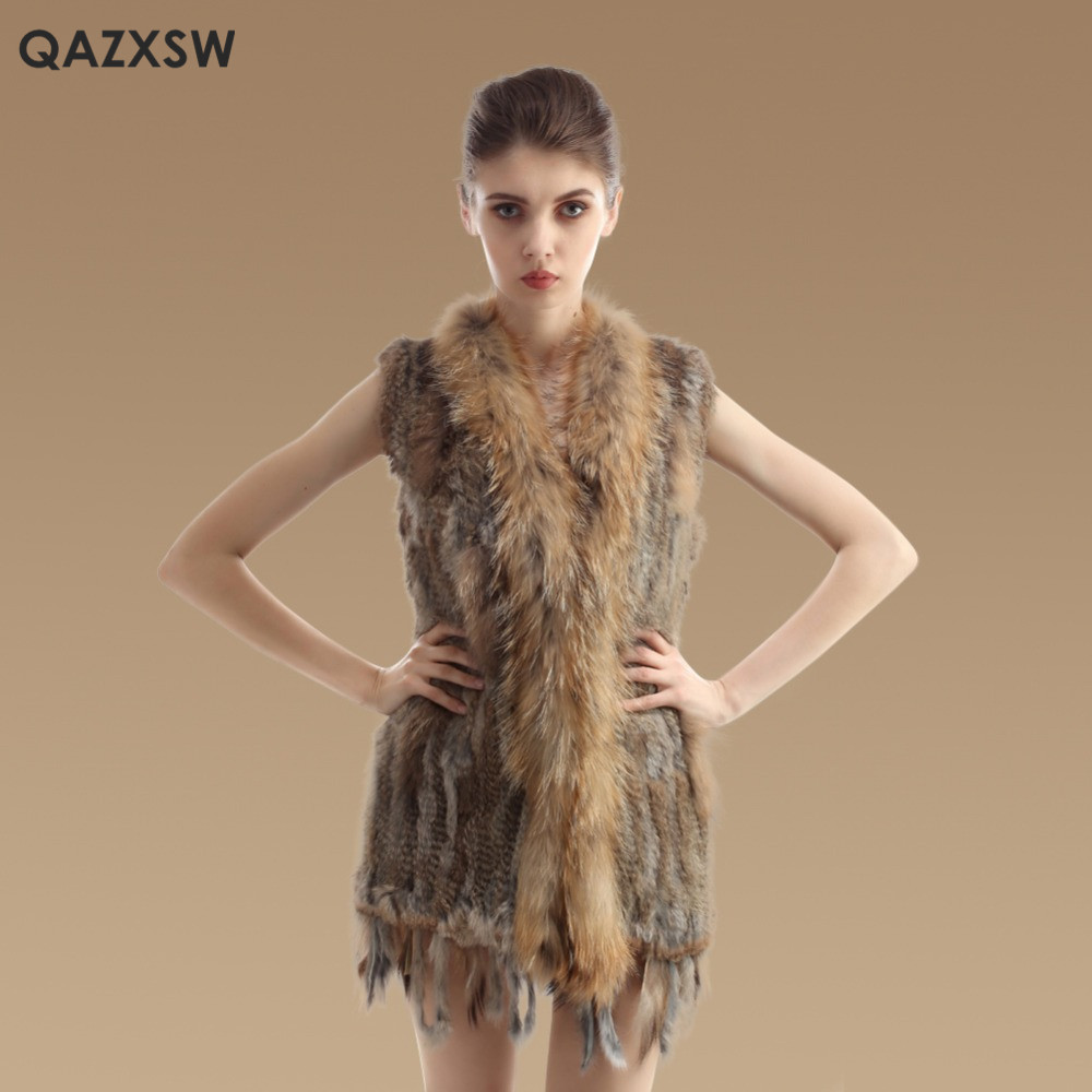 New Real Fur Vest Long Genuine Knitted Rabbit Fur Vest Raccoon Fur Collar Trimming Waistcoat Winter Sleeveless Fur Jacket DX258