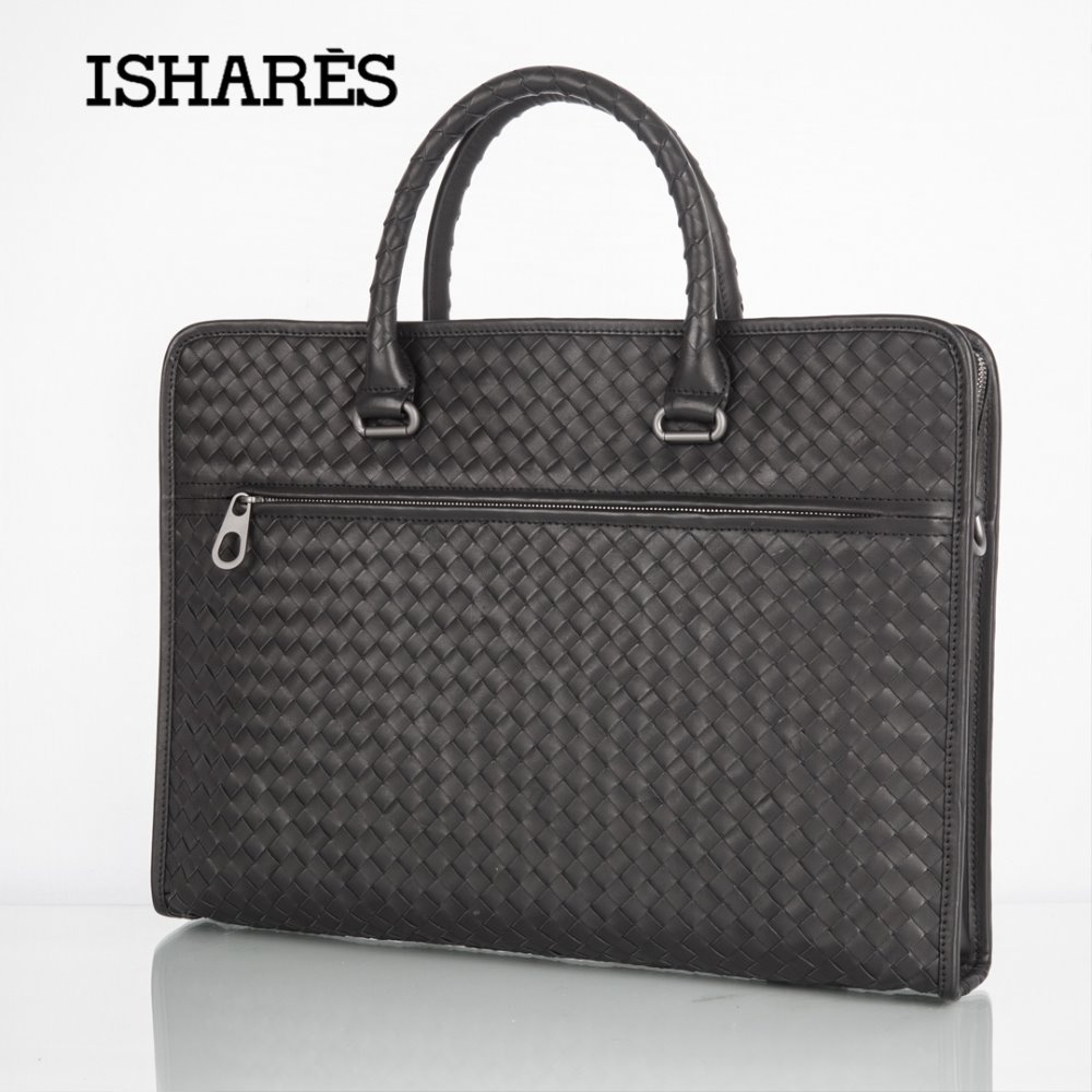 ISHARES Superior Woven Business Handbags For Men Black Handmade Genuine Cowhide Formal Briefcase Bags Compartment IS3174-1